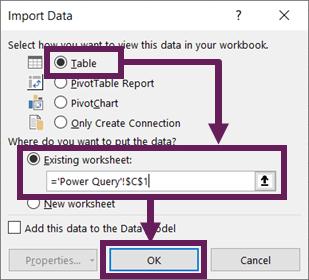 Import Data dialog box