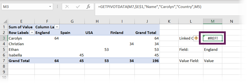 GETPIVOTDATA linking to Value cell