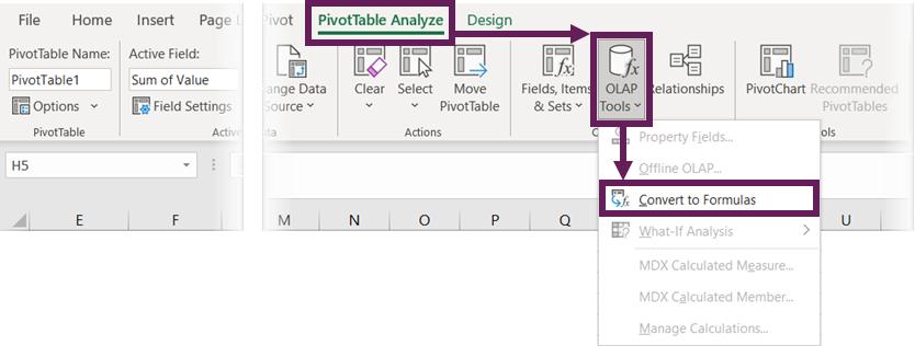OLAP Tools - Convert to Formulas