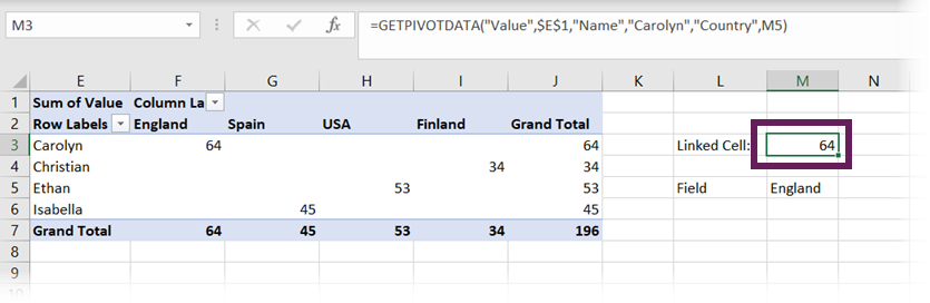 PivotTable field linking to a cell