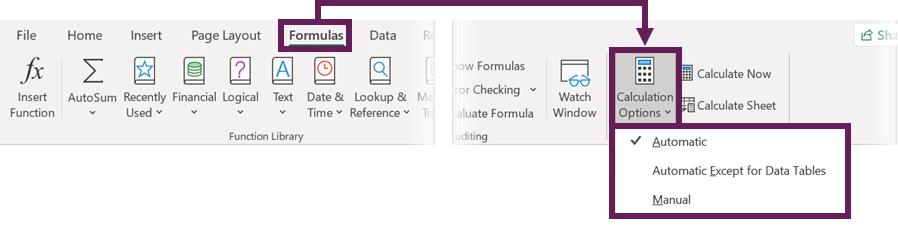 Formulas - Calculation Options in Ribbon
