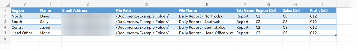 Parameter Table for Power Automate