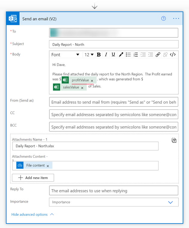 Power Automate - e-mail with passed back parameters