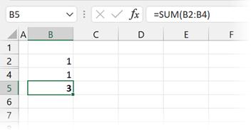 Calculation with a hidden row