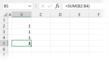 Calculation with hidden row revealed