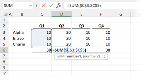 Double click formula to reveal calculation range