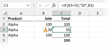 Number in double quotes - IF function