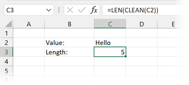 Using CLEAN to remove non-printed characters