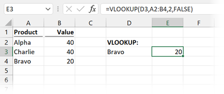 VLOOKUP with correct arguments
